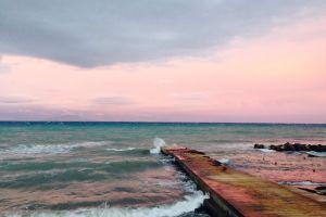 romantic nature pinksky sunset peaceful sky greece beautiful beach calm