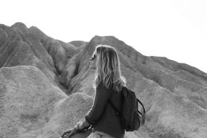 scenic adult landscape girl sitting hike chill rest daylight woman