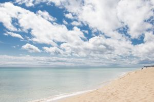 sea seascape water clouds waves seashore sand horizon heaven beach