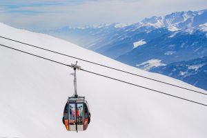 ski resort high peaks cable car winter landscape frost resort snow sky landscape