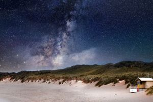 sky sun starry ocean sand night beach astronomy dark scenic