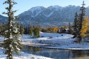 snow colorado log cabin cabin mountain lake mountain snowy mountain durango