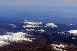 snow mountains blue