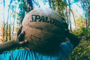 spalding basketball ball person trees
