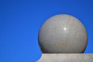 spherical art daylight design shape blue background gray colors sphere