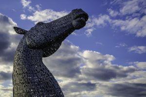 statue landmark tourism monument the kelpies sculpture falkirk art clouds scotland