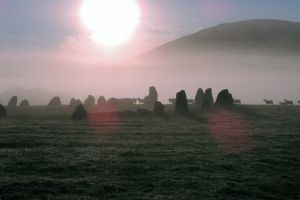 stone circle nature misty mist outdoor sheep dawn