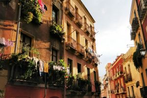 street colorful houses natural vacation italy sunny day