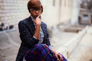street woman fashion young urban portrait eyeglasses hair wear photoshoot