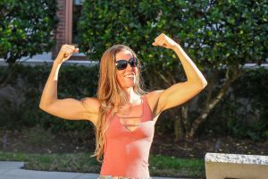 style woman smiling person sunglasses pose girl muscles fit