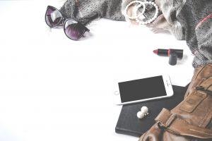 sunglasses clothes style flatlay leather fashion notebook smartphone iphone bracelets