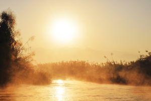 sunrise misty asia nature landscape
