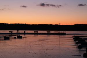 sunset ice pier bicyclis benches