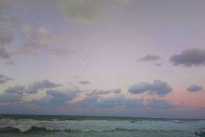 sunset sky beach magnification nature relaxing sea clouds blue