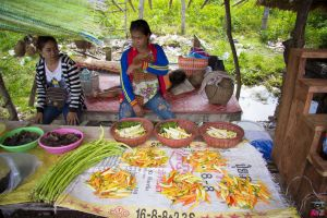 typical road street august hawker fresh produce people roadside cuisine