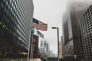 urban corporate tall downtown windows contemporary american flag sky office modern