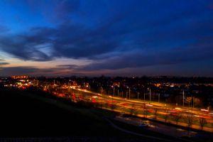 urban night cars road lights light trails busy