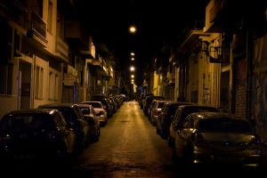 urban yellow lights dark street urban street