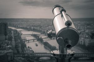 view deck buildings telescope black and white city downtown black-and-white