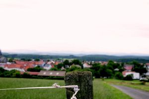 village pole woods fencing houses road frankenau rope fence germany