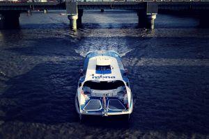 waves watercraft vehicle transportation system bridge boat city high angle shot pier daylight