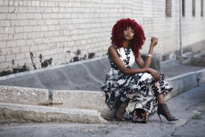 wear curly hair heels dress woman urban fashion model pose female model footwear