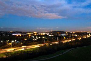 wembley stadium light trails lights busy night urban road cars