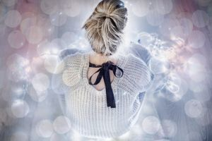 winter lights blonde girl girl with fairylights blonde hair knitted sweater magic teens teenage