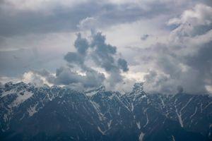 winter weather sky mountains fog daylight snow clouds landscape snowy