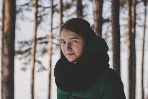 woman portrait scarf beautiful beauty person girl winter wear