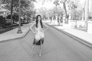 woman trees wear fashion summer person pavement asphalt pose girl