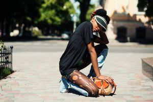 woman wear girl daytime fashion cap style pose street