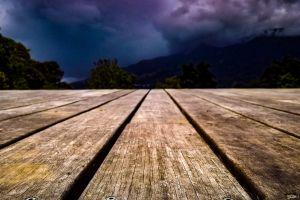 wood dark clouds view deck deck