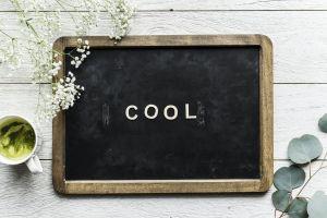 wooden chalkboard wooden table cup rustic mug cool blackboard design flatlay