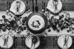 wooden flatware setting silverware top view close-up indoors cake tableware flowers