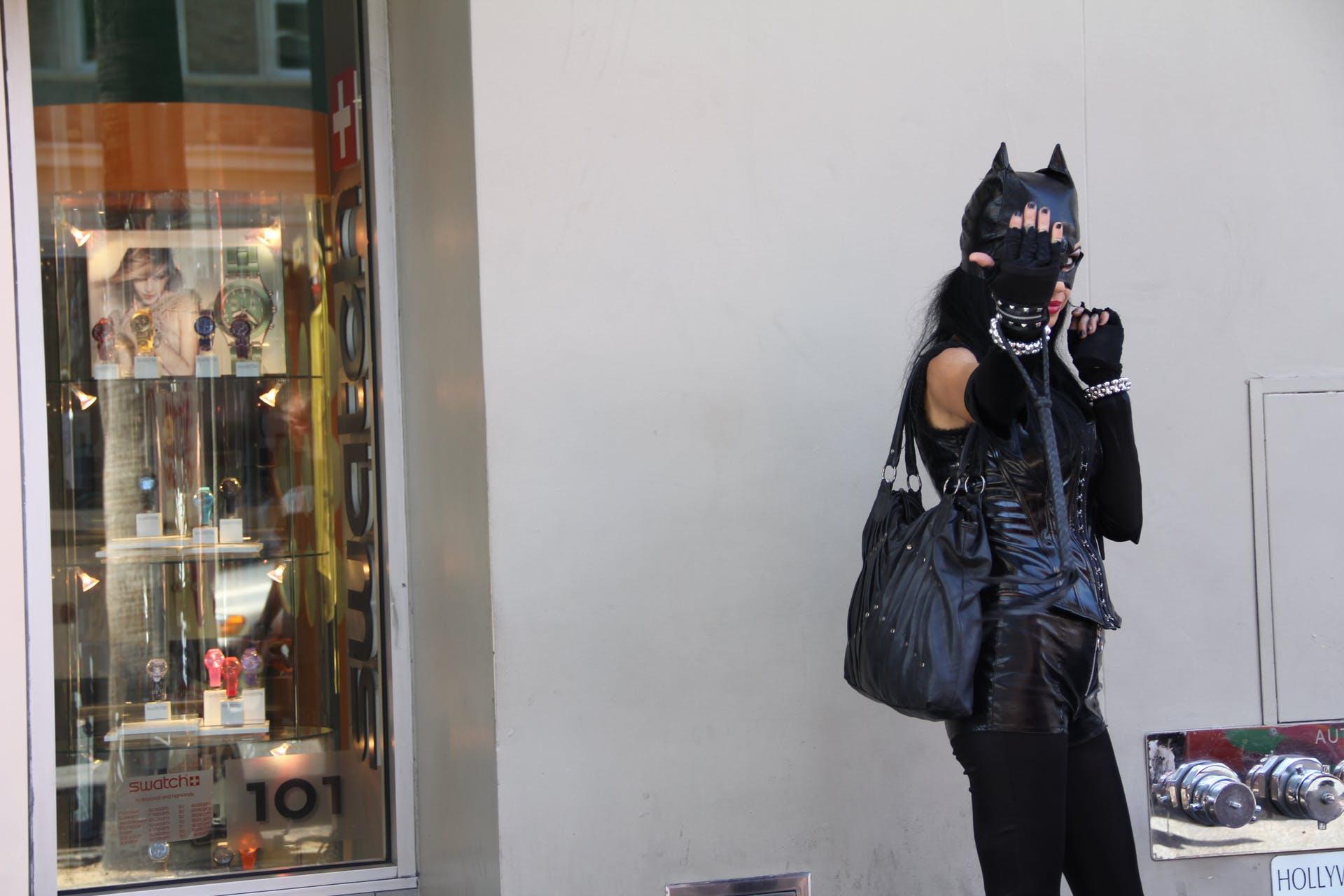 costume fashion street stock travel cat person black shopping tourism