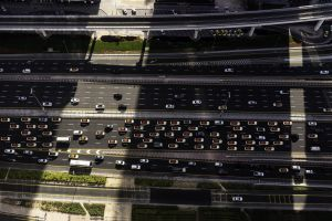 aerial shot road traffic cars transportation system dubai from above vehicles bird's eye view