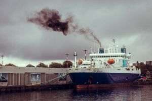air pollution ship moor victoria ocean cloudy starting the engine dock cable innovator