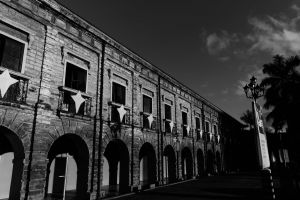 architectural contrast spanish urban black and white old building