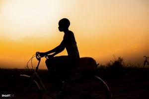bicycle people ancient town kid elderly adult farmer village wear