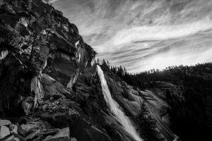 black and white landscape yosemite national park nevada falls nature waterfall