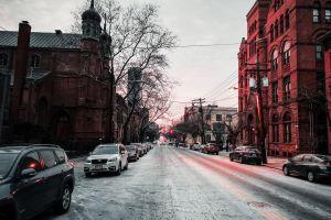 buildings sunset church street
