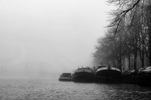 canal smooth winter landscape creepy nature amsterdam cliche black and white boat