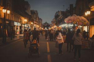 city lights vietnamese hanoi night city street portrait