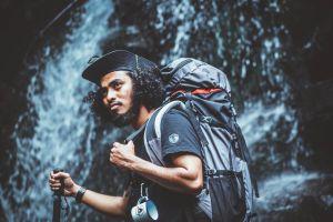 daylight man backpacker nature backpack mountain hike person enjoyment dark