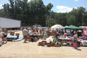 donations donated tents bleach food flood victims assistance