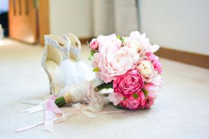 flower bouquet peonies wedding beautiful flowers bridal silk ribbon bride