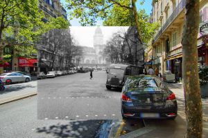 historical cars train station streetphotography paris collage street photography old car