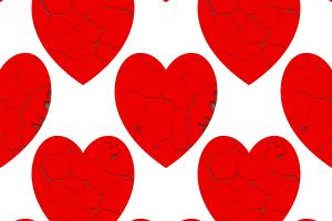 illustration ornamenta decor heart red crack effect design seamless