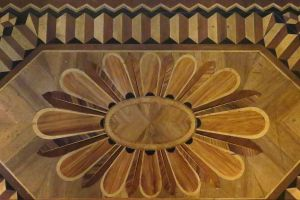 inlay wood pattern radial design floor